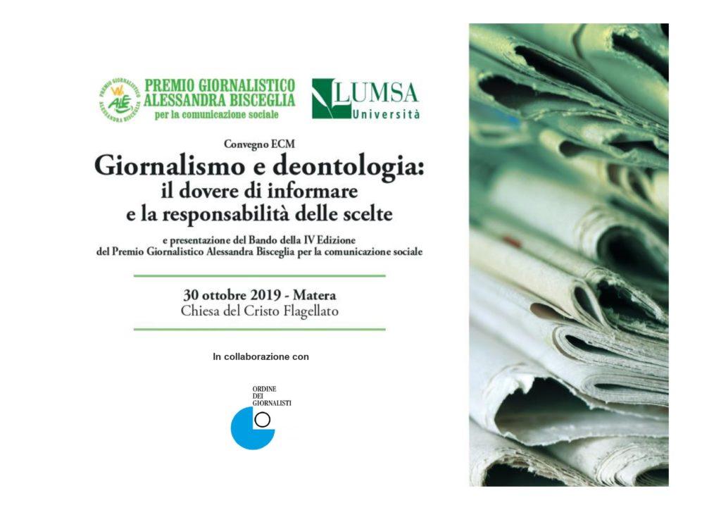 """A Matera convegno """"Giornalismo e Deontologia: il dovere di informare e la responsabilità delle scelte"""" e  presentazione del  Premio  Alessandra Bisceglia"""