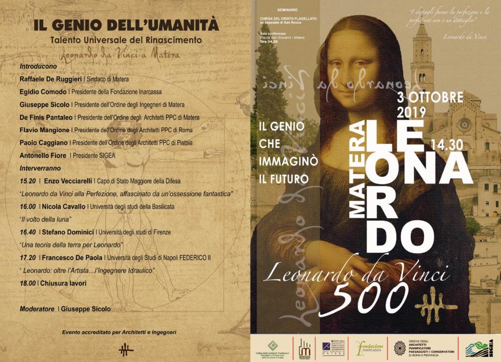 """""""Leonardo, il genio che immaginò il futuro"""", evento a Matera alla presenza del Capo di Stato Maggiore della Difesa"""