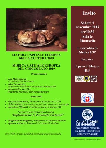 Il cioccolato di Modica IGP incontra il pane di Matera IGP