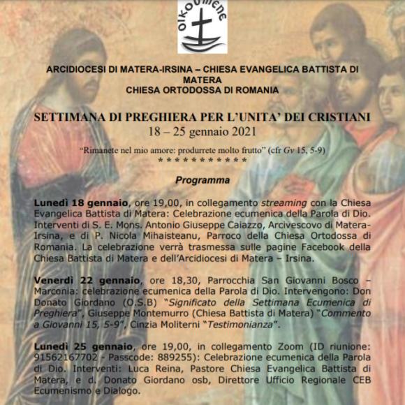 Arcidiocesi di Matera-Irsina, settimana di preghiera per l'unità dei cristiani (18-25 gennaio)
