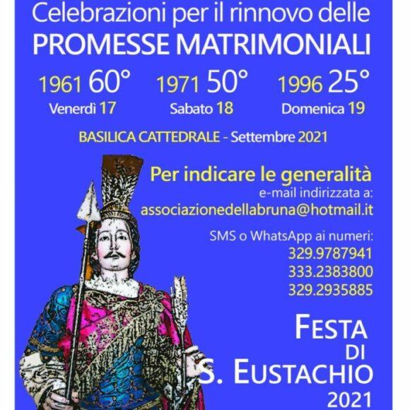 Festa di sant'Eustachio 2021: a Matera rinnovo delle promesse matrimoniali in occasione del 25°, 50° o 60° anniversario di matrimonio